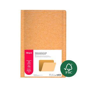 Pack 25 subcarpetas Dequa kraft eco folio