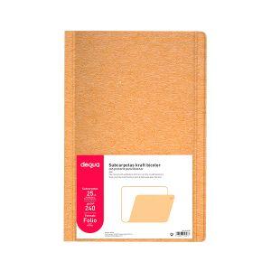Pack 25 subcarpetas Dequa kraft bicolor Folio
