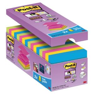 Pack ahorro notas Post-it Super Sticky Z-Notes 14+2 GRATIS  Colores Surtidos