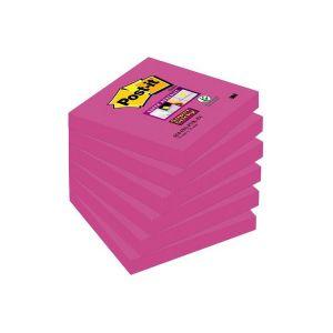 Pack 6 blocs notas Post-it Super Sticky 76x76mm. Fucsia