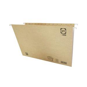 Pack 25 carpetas colgantes Gio visor superior lomo V folio kraft bicolor