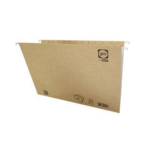 Pack 25 carpetas colgantes Gio visor superior lomo V A4 kraft bicolor