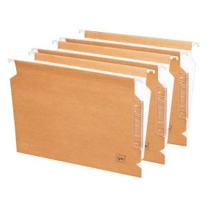 Pack 25 carpetas colgantes Gio visor lateral lomo V folio Kraft bicolor